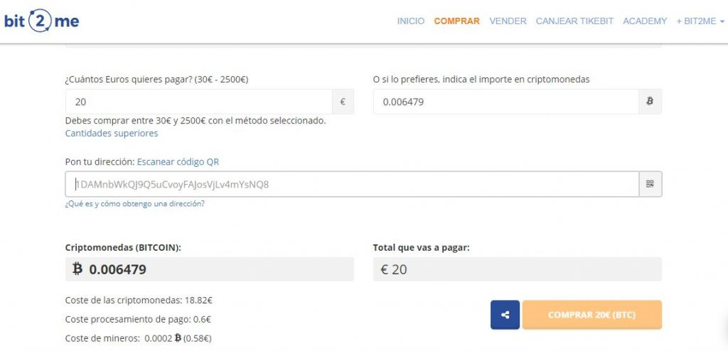 Comprar bitcoins con tarjeta de crédito en Uruguay en Bit2Me