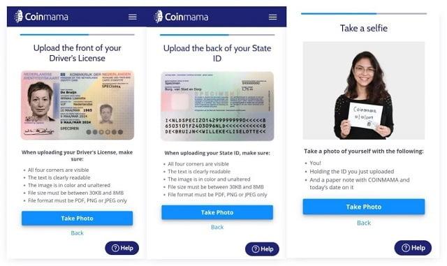 subir documentos y selfie para verificar cuenta de coinmama