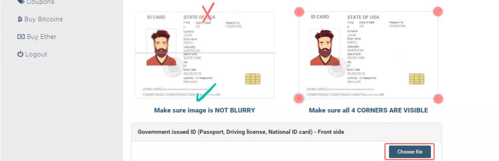 como verificar identidad en coinmama