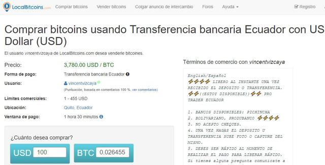 como comprar bitcoins en ecuador con transferencia banciaria