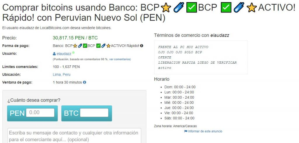 como comprar bitcoins en perú con transferencia bancaria