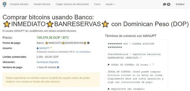 condiciones de compra localbitcoins republica dominicana