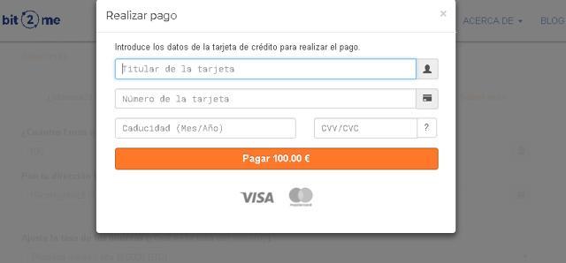 rellenar datos de tarjeta crédito compra bit2me