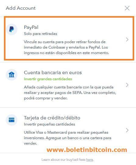 vincular cuenta paypal a coinbase para pasar bitcoins a paypal por euros