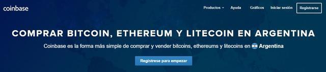 Comprar bitcoins, ethereums y litecoins en Coinbase Argentina