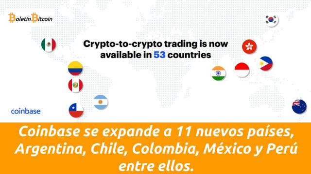 Coinbase se expande a Argentina, Chile, Colombia, México y Perú