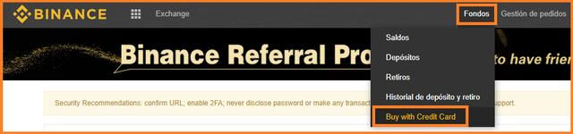 elegir forma de pago compra con tarjeta de credito binance