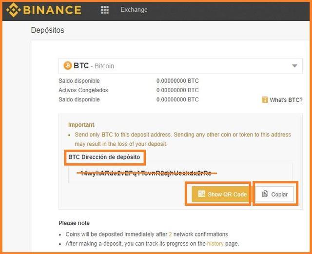 Copia la dirección de depósito de bitcoins en Binance