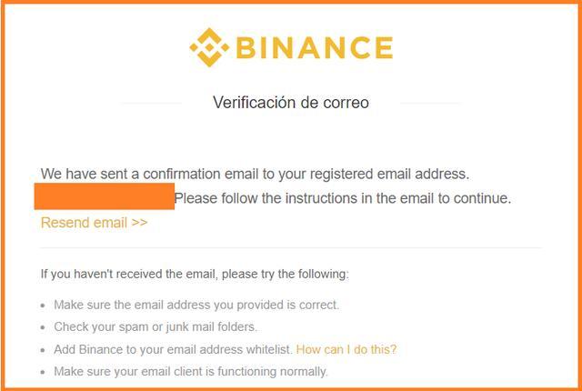 Verificar correo electronico registro Binance español