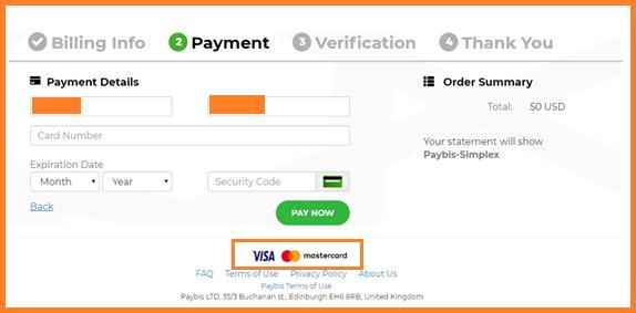 Paso 8: rellena los datos de tu tarjeta de crédito en Simplex Binance
