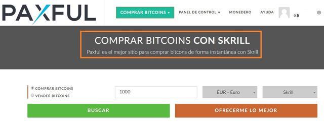 Comprar bitcoins con Skrill en Paxful