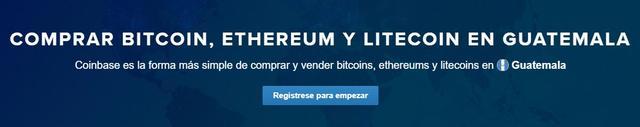 Coinbase permite crear cuentas desde Guatemala