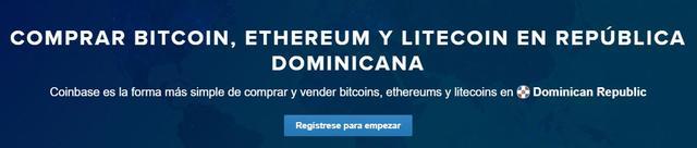 Cómo comprar bitcoins, ethers y litecoins en Coinbase República Dominicana