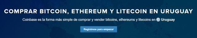 Comprar bitcoins, ethers y litecoins en Coinbase Uruguay