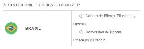 Criptomonedas y servicios disponibles en Coinbase en Brasil