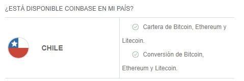 Servicios y criptomonedas disponibles en Coinbase Chile