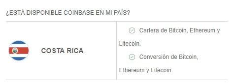 Criptomonedas y servicios disponibles en Coinbase Costa Rica