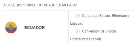 Criptomonedas y servicios disponibles en Coinbase Ecuador