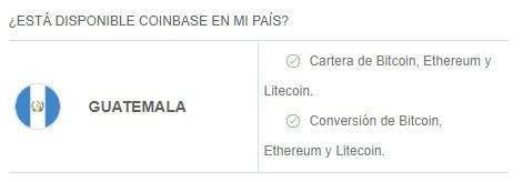 Criptomonedas y servicios disponibles en Coinbase en Guatemala