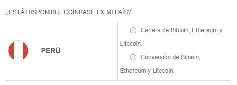 Criptomonedas y servicios disponibles en Coinbase Perú