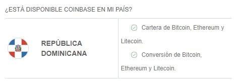 Criptomonedas y servicios disponibles en Coinbase en República Dominicana