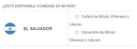 Criptomonedas y servicios disponibles en Coinbase en El Salvador