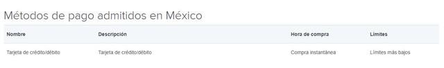 Métodos de pago admitidos en Coinbase México