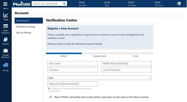 Cómo invertir en criptomonedas con Plus500: verificar cuenta