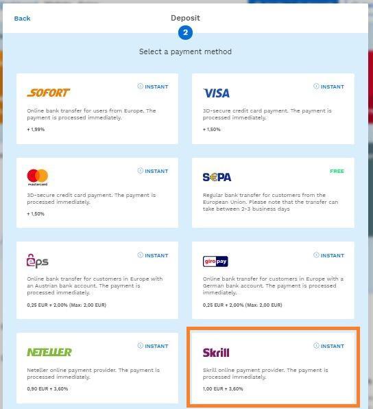 Selecciona la forma de pago Skrill en Bitpanda