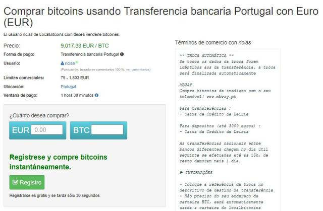como comprar bitcoins en portugal