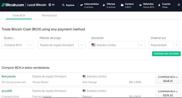 ómo comprar Bitcoin Cash (BCH) con tarjetas regalo en Local.bitcoin.com