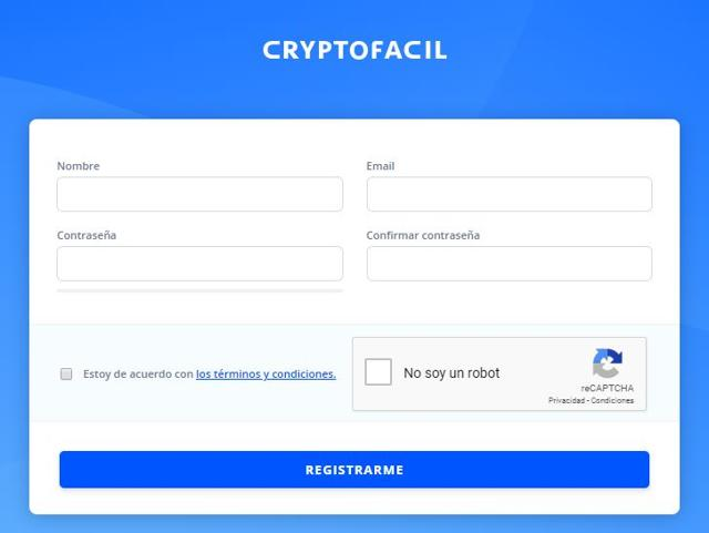 formulario contacto crear cuenta en cryptofacil
