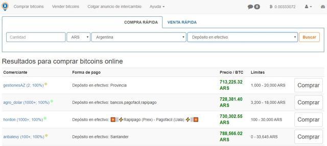 comprar bitcoins en Localbitcoin con deposito en efectivo en banco argentino
