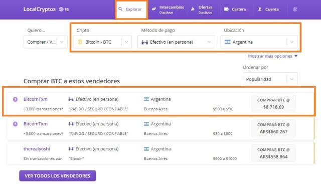 comprar bitcoins en efectivo en persona en argentina ofertas localcryptos