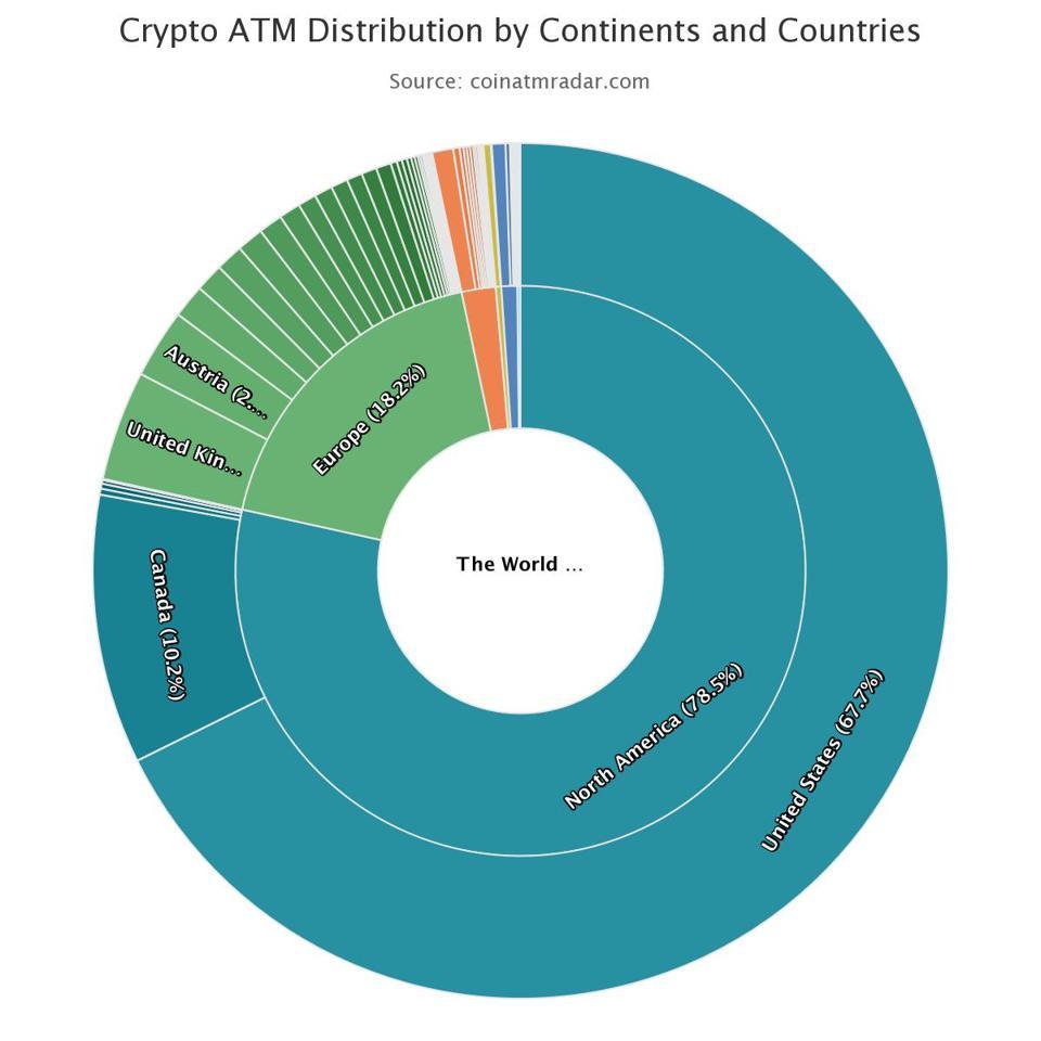 distribución de cajeros bitcoin en el mundo