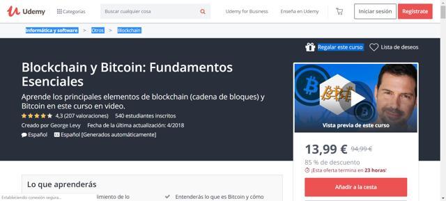 Curso Udemy de Blockchain y Bitcoin: fundamentos esenciales