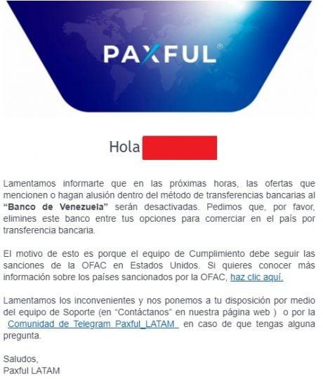 email de paxful a sus clientes de venezuela sobre la prohibición de usar banco de venezuela