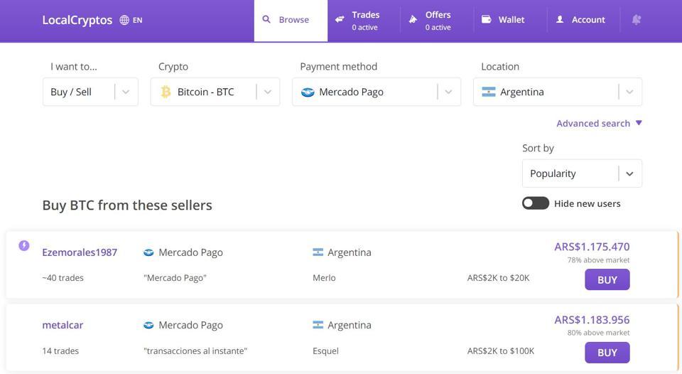 Comprar bitcoins con Mercadopago en LocalCryptos