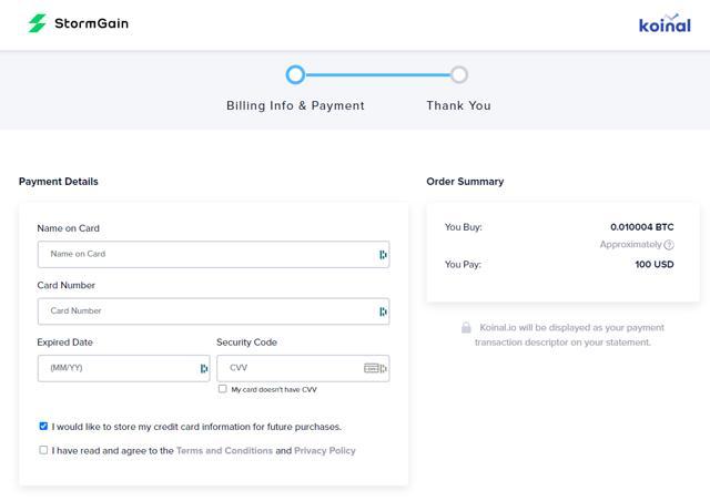 comprar criptomonedas con tarjeta de crédito en Stormgain paso 2