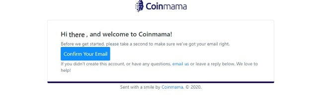 confirmar email cuenta coinmama