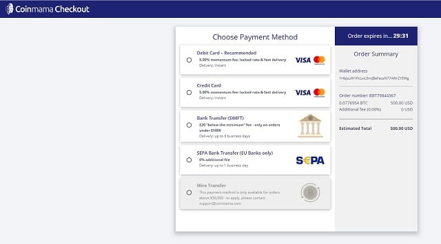 elegir forma de pago en coinmama para comprar bitcoins