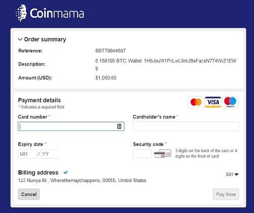 rellenar datos tarjeta de crédito para comprar bitcoins en coinmama