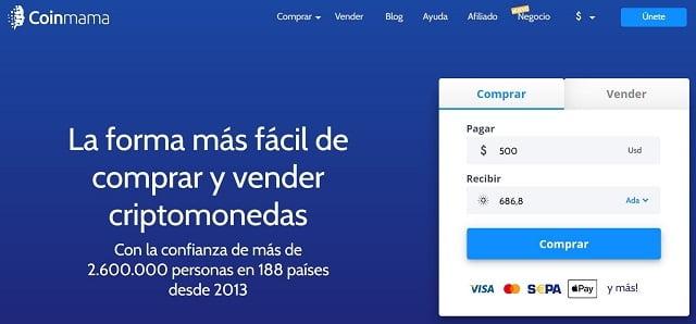 comprar cardano en coinmama con dolares desde Colombia