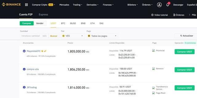 comprar bitcoin en binance con bolívares venezolanos