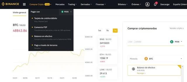 comprar criptomonedas en binance con pesos mexicanos