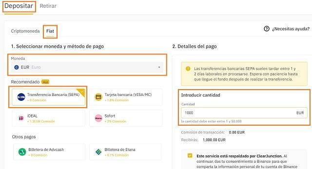paso 2 depositar euros en binance con transferencia bancaria