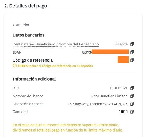 paso 5 datos bancarios binance