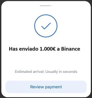 paso 6 has enviado euros desde revolut a binance
