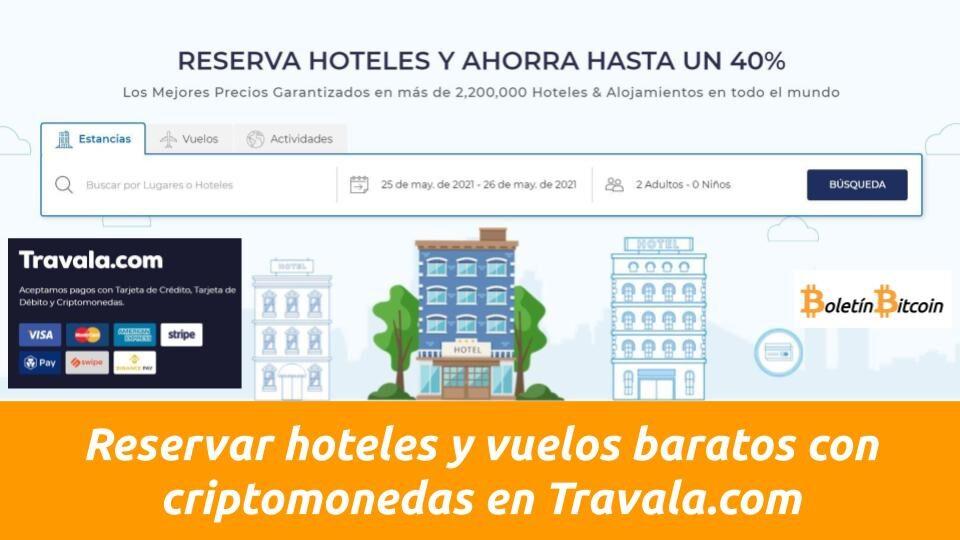 Reservar hoteles y vuelos baratos con criptomonedas en Travala