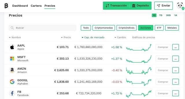 acciones tokenizadas disponibles en bitpanda